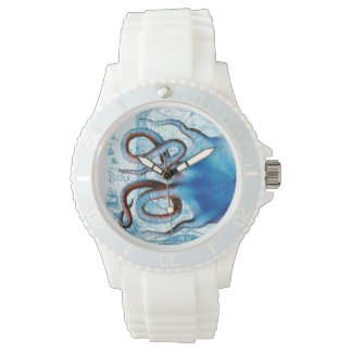 Octopus Blue Map Wrist Watches