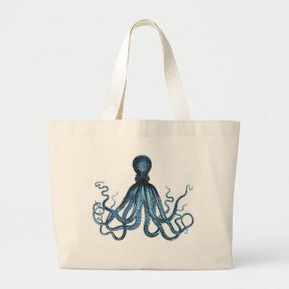 Octopus blue nautical coastal pattern large tote bag