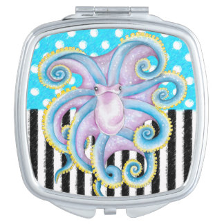 Octopus Blue Pattern Compact Mirror