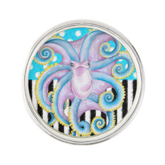 Octopus Blue Pattern Lapel Pin