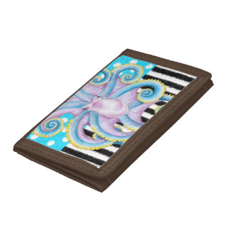 Octopus Blue Pattern Tri-fold Wallets