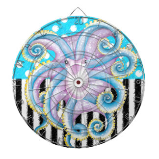 octopus blue polka dot dartboard