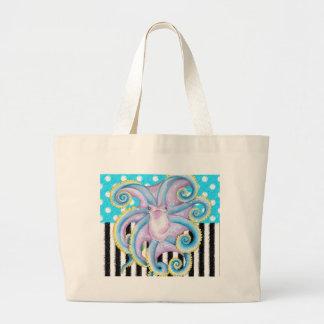 octopus blue polka dot large tote bag