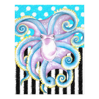 octopus blue polka dot letterhead