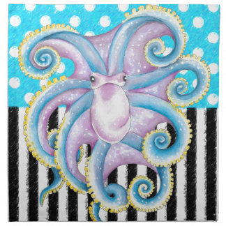 octopus blue polka dot napkin