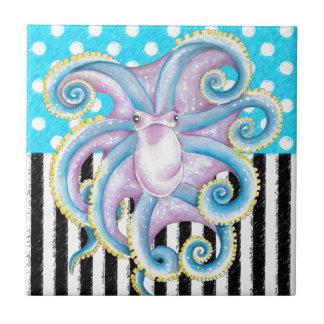octopus blue polka dot tile