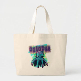 octopus cartoon style large tote bag