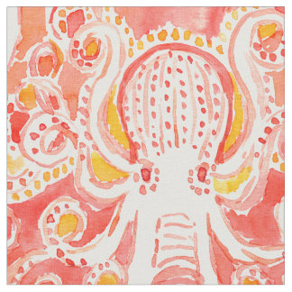 OCTOPUS Coral Nautical Whimsical Watercolor Print Fabric