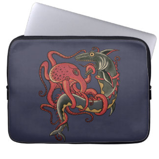 octopus fighting a shark laptop sleeves