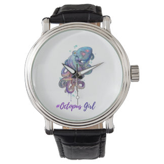 Octopus Girl Leather Strap Watch