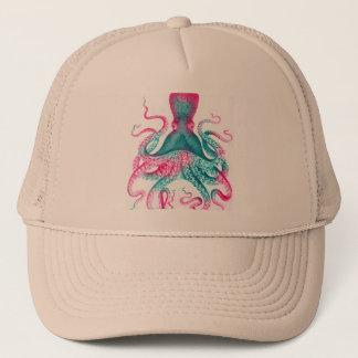 Octopus illustration - vintage - kraken trucker hat