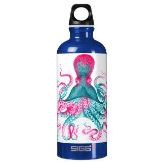 Octopus illustration - vintage - kraken water bottle
