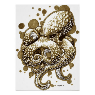octopus in sepia posters