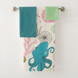 Octopus in the bathroom! Coral reef themed Bath Towel Set