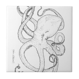 Octopus Ink Drawing Black and White Ceramic Tiles