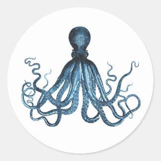 Octopus kraken nautical coastal ocean beach sea classic round sticker