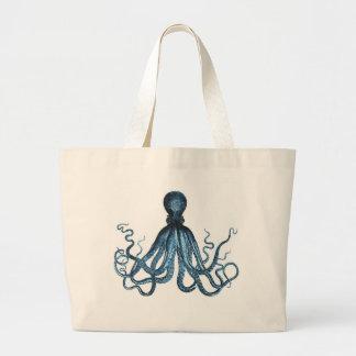 Octopus kraken nautical coastal ocean beach sea large tote bag