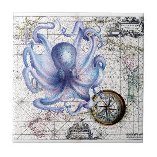 Octopus Map Nautica Tile