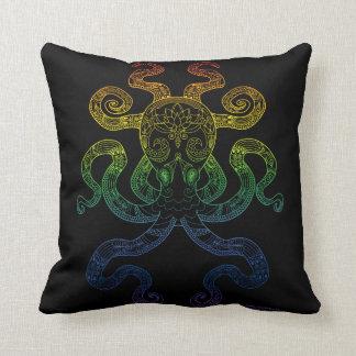 Octopus Nautical Art Floral Rainbow Pride Black Throw Pillow