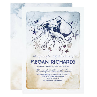 Octopus Nautical Beach Baby Shower Card