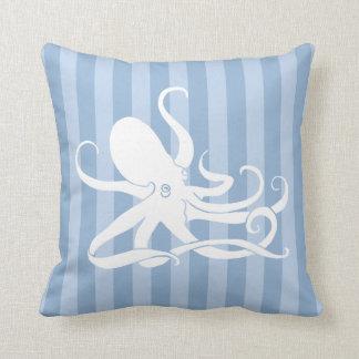 Octopus Nautical Blue Striped Throw Pillow