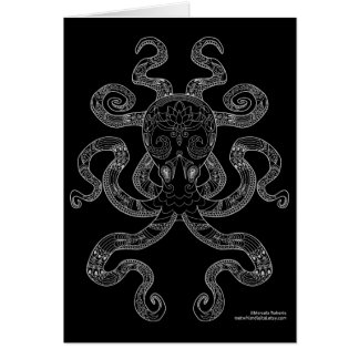 Octopus Nautical Ocean Art Outline Grey Black Card