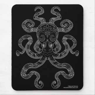Octopus Nautical Ocean Art Outline Grey Black Mouse Pad