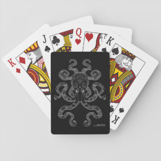 Octopus Nautical Ocean Art Outline Grey Black Poker Deck