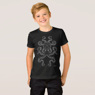 Octopus Nautical Ocean Art Outline Grey Black T-Shirt