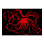 Octopus Nautical Steampunk Vintage Kraken Monster Poster