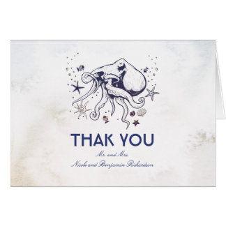 Octopus - Nautical Wedding Thank You Card