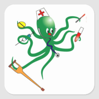 Octopus Nurse Square Sticker