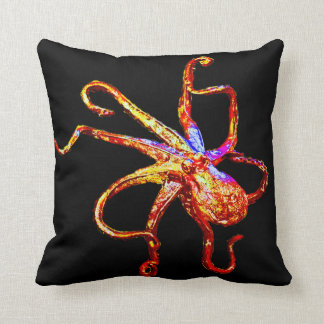 Octopus on Black Throw Pillow