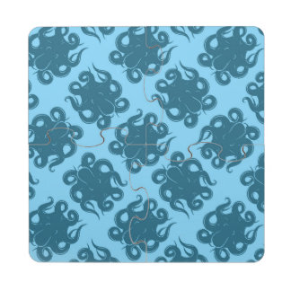 Octopus On Blue Pattern Puzzle Coaster