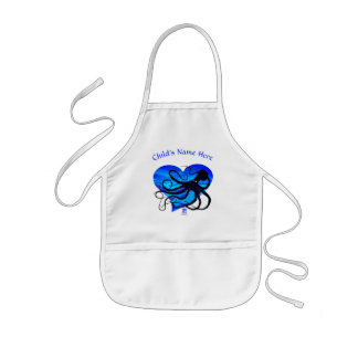 Octopus on Two Tone Blue ❤ - Kid's Apron