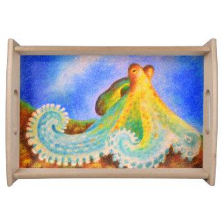 Octopus pastel art serving tray