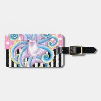 octopus pink pattern luggage tag