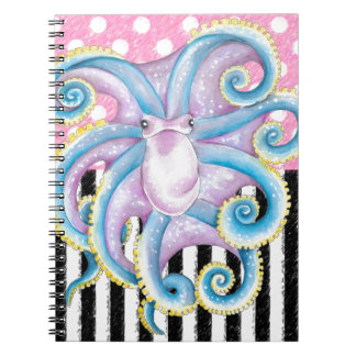 octopus pink pattern spiral note books