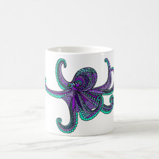 Octopus purple teal ocean sea life coffee mug