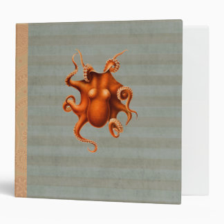 Octopus Red Cephalopod Vintage Design 3 Ring Binder