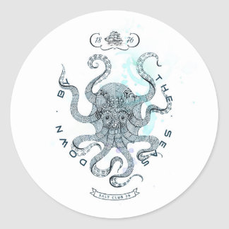 Octopus - Salt Club 76 - Down by the Sea Classic Round Sticker