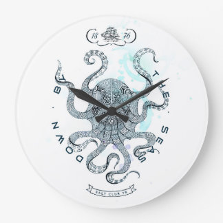 Octopus - Salt Club 76 - Down by the Sea Large Clock