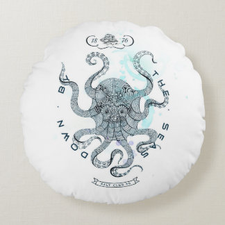 Octopus - Salt Club 76 - Down by the Sea Round Pillow