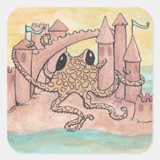 Octopus & Sandcastle Square Sticker