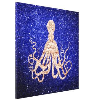 Octopus Sea Ocean Rose Gold Cobalt Blue Glitter Canvas Print