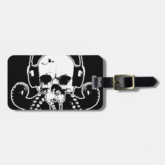 Octopus Skull DJ with Headphones Gothic Art Luggage Tag