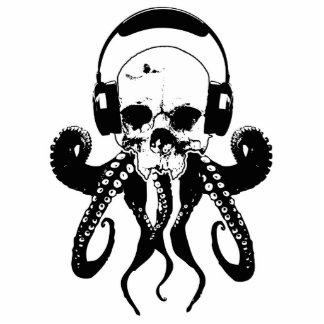 Octopus Skull DJ with Headphones Gothic Art Standing Photo Sculpture