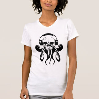 Octopus Skull DJ with Headphones Gothic Art T-Shirt