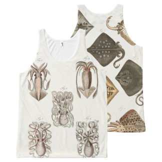 Octopus Squid Stingray Vintage Sea Life Art All-Over-Print Tank Top