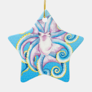 Octopus Stained Glass Ceramic Ornament
